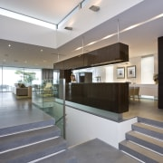 View of the entry to the main living architecture, ceiling, daylighting, floor, glass, interior design, lobby, real estate, gray