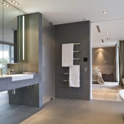 View of master bathroom which features marble and architecture, bathroom, floor, interior design, real estate, room, gray