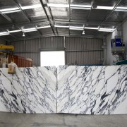 View marble slabs at the Granite Pacifica factory. wall, gray, black