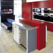 View of a Kitchen Things showroom which features countertop, furniture, kitchen, product design, table, gray, red