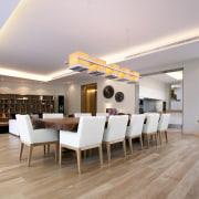View of open-plan dining area with elongated lighting apartment, ceiling, floor, flooring, hardwood, interior design, laminate flooring, living room, real estate, room, wood flooring, gray