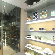View of wet kitchen featuring a walk-in chiller interior design, gray