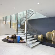 View of stairway with glass balustrade and stainless ceiling, floor, interior design, lobby, real estate, white