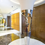 View of a sculpture in the corridor with ceiling, interior design, lobby, real estate, white