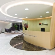 View of the reception area with tiled flooring, architecture, ceiling, floor, interior design, lobby, product design, table, white