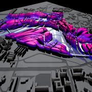 view of the original master plan for the art, design, graffiti, graphics, purple, gray, black