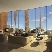 Image of the conceptual drawings for the National apartment, architecture, condominium, interior design, living room, lobby, real estate, window, brown