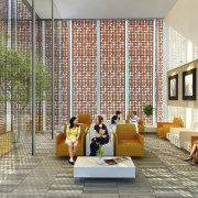 Image of the conceptual drawings for the National architecture, condominium, house, interior design, lobby, gray, brown