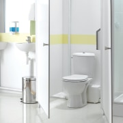 View of a bathroom which features Saniflo macerating bathroom, bathroom accessory, bathroom sink, plumbing fixture, product, product design, tap, toilet, toilet seat, white, gray