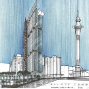 View of a conceptual drawing of the proposed architecture, building, landmark, metropolis, metropolitan area, mixed use, skyline, skyscraper, tower, tower block, white, teal