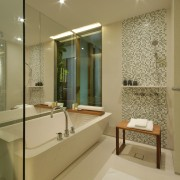 View of a bathroom which features a custom-manufactured bathroom, estate, home, interior design, real estate, room, suite, brown