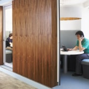 View of the private office booths with laminate door, furniture, interior design, sliding door, wardrobe, white, brown