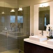 View of the bathroom of this Landmark Homes bathroom, home, interior design, room, brown