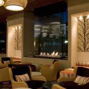 View of seating area at the Terrace bar café, ceiling, interior design, lighting, lobby, restaurant, brown