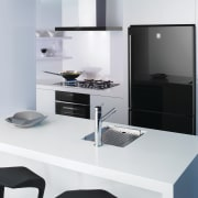View of a kitchen which features a refrigerator, furniture, interior design, kitchen, office, product, product design, white