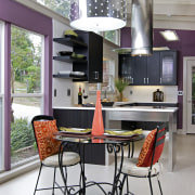 View of a remodeled kitchen which features lavender chair, countertop, dining room, furniture, interior design, kitchen, table, gray