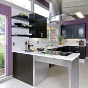 View of a remodeled kitchen which features lavender countertop, furniture, interior design, kitchen, product design, table, white, gray