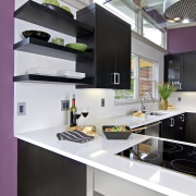 View of a remodeled kitchen which features lavender countertop, interior design, kitchen, white, gray, black