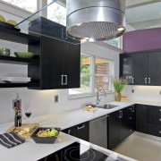 View of a remodeled kitchen which features lavender countertop, cuisine classique, interior design, kitchen, gray, black