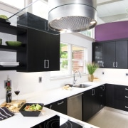 View of a remodeled kitchen which features lavender countertop, cuisine classique, interior design, kitchen, white, black