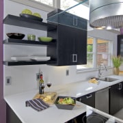 View of a remodeled kitchen which features lavender countertop, interior design, kitchen, gray