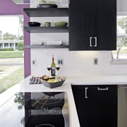 View of a remodeled kitchen which features lavender countertop, furniture, interior design, kitchen, room, white, black