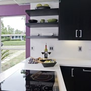 View of a remodeled kitchen which features lavender countertop, interior design, kitchen, room, black, gray