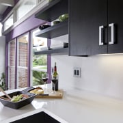 View of a remodeled kitchen which features lavender countertop, house, interior design, kitchen, white, black