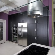 View of a remodeled kitchen which features lavender countertop, home appliance, interior design, kitchen, major appliance, product design, room, gray, black