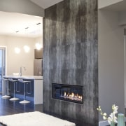interior view of the New David Reid show ceiling, floor, interior design, living room, room, wall, gray