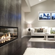interior view of the New David Reid show ceiling, fireplace, floor, hearth, interior design, living room, gray, black