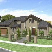 Exterior view of a home designed and built cottage, elevation, estate, facade, home, house, land lot, neighbourhood, property, real estate, residential area, suburb