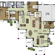 Image of architectural plans for a Landmark Homes area, floor plan, plan, property, real estate, residential area, schematic, white