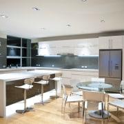 internal kitchen overview of Oak Manor,bench tops built countertop, interior design, kitchen, gray
