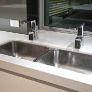 internal kitchen view of Oak Manor,bench tops built bathroom sink, countertop, kitchen, plumbing fixture, product design, sink, tap, white
