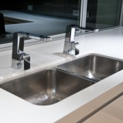 internal kitchen view of Oak Manor,bench tops built bathroom sink, countertop, kitchen, plumbing fixture, product design, sink, tap, gray, black, white