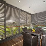 interior deck View of Oak Manor.Motorized opening slides architecture, daylighting, interior design, real estate, window, window blind, window covering, window treatment, gray