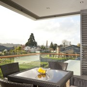 interior deck View of Oak Manor.Motorized opening slides apartment, estate, house, interior design, property, real estate, window, white