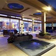 interior deck View of Oak Manor.Motorized opening slides estate, home, interior design, lighting, real estate, brown