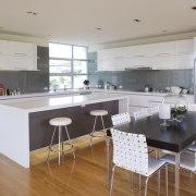 internal kitchen overview of Oak Manor,bench tops built countertop, floor, flooring, interior design, kitchen, real estate, room, wood flooring, gray