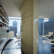 View of the condominium with shiny lacquered joinery, architecture, daylighting, glass, interior design, product design, gray