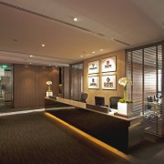 View of updated offices featuring dark timber floors, ceiling, interior design, lobby, real estate, brown