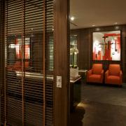 View of updated offices featuring dark timber floors, door, interior design, lobby, brown