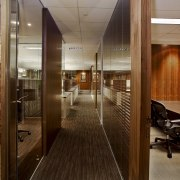 View of updated offices featuring dark timber floors, ceiling, interior design, office, brown