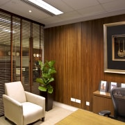 View of updated offices featuring dark timber floors, interior design, lobby, brown