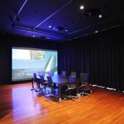 Architectural firm Coz Howlett & Bailey Woodland relocated auditorium, ceiling, floor, flooring, interior design, room, studio, black, blue