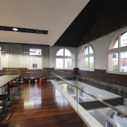 Architectural firm Coz Howlett & Bailey Woodland relocated architecture, ceiling, house, interior design, gray, black