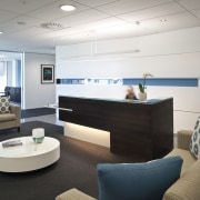 View of the Club Tower offices in Christchurch, ceiling, interior design, lobby, office, product design, white, black