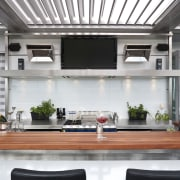 The commercial look of the kitchen is reinforced interior design, white, gray
