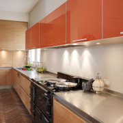Kitchen designer Keith Sheedy worked in close contact cabinetry, countertop, cuisine classique, interior design, kitchen, real estate, room, gray, orange